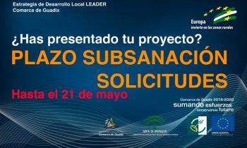 Subsanación de solicitudes de ayuda: HASTA EL 21 DE MAYO