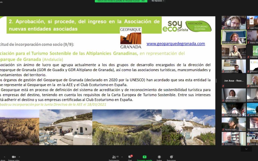 La Asamblea General de la Asociación de Ecoturismo de España acepta  por unanimidad la integración del Geoparque de Granada como nuevo socio.