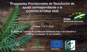 Publicadas las Propuestas Provisionales de Resolución de ayuda correspondiente a la convocatoria 2020.